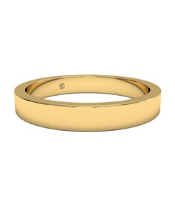 Women's Classic Square-Edge Wedding Band in 18kt Yellow Gold. Price includes setting.