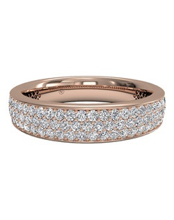 Women's Triple Micropavé Diamond Wedding Band in 18kt Rose Gold (0.70 CTW). Price includes center stone and setting.