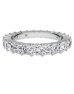 Women's Slim Asscher-Cut Diamond Eternity Band in Platinum (3.04 CTW). Price includes center stone and setting.