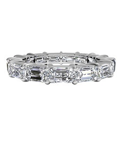Emerald-Cut Diamond Eternity Band in Platinum (4.53 CTW). Price includes center stone and setting.