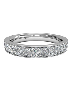Women's Double Micropavé Diamond Wedding Band in Platinum (0.25 CTW). Price includes center stone and setting.