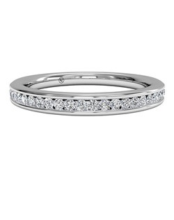 Women's Channel-Set Diamond Wedding Band in Platinum (0.15 CTW). Price includes center stone and setting.