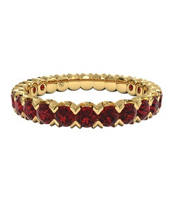 Classic Ruby Stackable Band in 18kt Yellow Gold. Price includes center stone and setting.