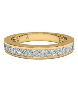 Women's Channel-Set Princess Diamond Eternity Band in 18kt Yellow Gold (1.25 CTW). Price includes center stone and setting.