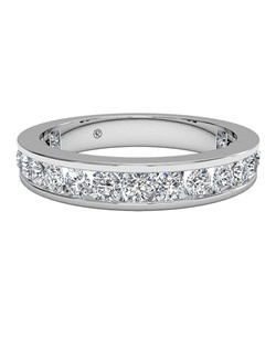 Women's Channel-Set Diamond Eternity Band in Platinum (1.05 CTW). Price includes center stone and setting.