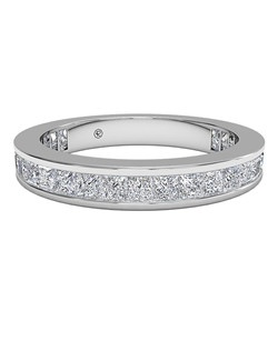 Women's Channel-Set Princess Diamond Eternity Band in Platinum (1.25 CTW). Price includes center stone and setting.