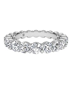 Women's Slim Prong-Set Diamond Eternity Band in Platinum (1.90 CTW). Price includes center stone and setting.