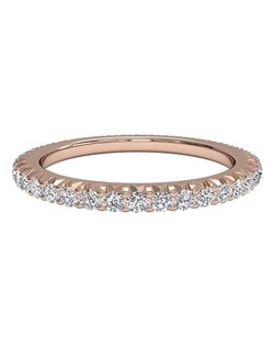 Women's Open Micropavé Diamond Eternity Wedding Band in 18kt Rose Gold (0.60 CTW). Price includes center stone and setting.