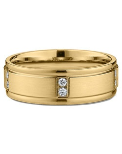 Men's Diamond and Satin-Finish Wedding Ring in 18kt Yellow Gold (0.20 CTW). Price includes center stone and setting.