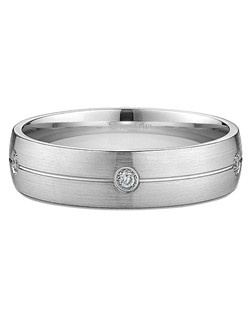 Men's Diamond and Stripe Brushed Wedding Ring in Platinum (0.08 CTW). Price includes center stone and setting.