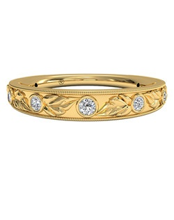 Women's Hand-Carved Grecian Diamond Wedding Band in 18kt Yellow Gold (0.05 CTW). Price includes center stone and setting.