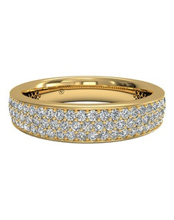 Women's Triple Micropavé Diamond Wedding Band in 18kt Yellow Gold (0.70 CTW). Price includes center stone and setting.
