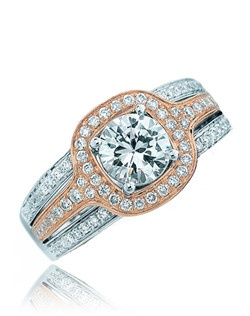 """""""With micro-set diamonds on its cushion top and on its triple band this Sage ring is surely as radiant as the love you share. The beautiful creation is shown in pink gold top with white gold split shank. Available in any size center and metal. (center not included) 80 DIA 0.45 CT"""""""