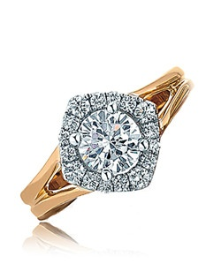 A yellow gold polish tapered split shank holds the round center stone which sits on a marquise shape top encapsulated by diamonds on white gold making the center look large. For the woman with an immense love to give. Available in any size center and metal. (center not included) 16 DIA 0.33 CT
