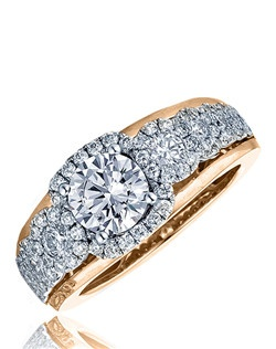 """A series of beautiful graduating diamonds surrounded by a high polish gold; the """"Raindrop"""" rings are simply breathtaking. This Sage ring is shown in white gold diamond top with pink gold polish shank. Available in any size center and metal. (center not included) 86 DIA 0.97 CT"""