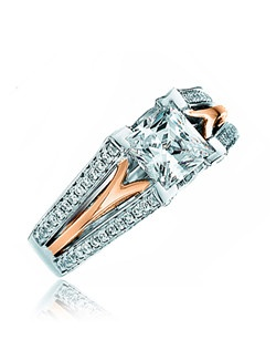 Announce to everyone that she is your princess on the most magical of days with this enchanting ring. This Sage ring features a princess cut center with a split tapered polish band and lines of diamonds on the outside to form its shank. Available in any size center and metal. (center not included). 124 DIA 0.64 CT