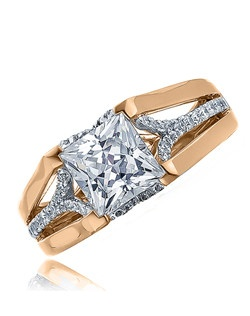 """""""This sleek Sage ring with its princess cut center stone makes this a stylish and attractive ring for """"""""the girl on the go."""""""" The ring is shown with diamonds on white gold center band in between pink gold polish split shanks. Available in any size center and metal. (center not included) 50 DIA 0.32 CT"""""""