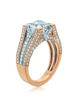"""""""""""""""Confidence"""""""" is what this ring speaks of. This Sage ring shows its cushion top sitting """"""""straight and bold"""""""" on top of diamonds on yellow gold and white gold split shanks. Available in any size center and metal. (center not included) 170 DIA 0.90 CT """""""