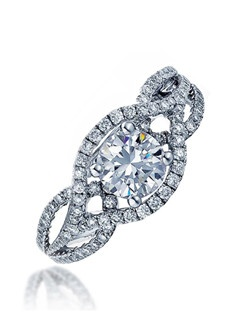 """""""Give this Sage ring to the woman you cherish. A graceful and refined design with its center stone inside an open leaf shape sparkling with micro-set diamonds . Its white gold twisting split shank is also covered in micro-set diamonds. Available in any size center and metal. (center not included) 32 DIA 0.34 CT"""""""