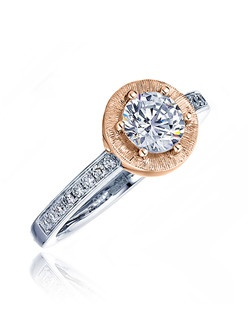 """""""This bridal ring is perfect for the bride who loves the traditional. The Sage ring featured has a round center sitting inside a satin round top with pave diamonds on white gold shank. A white gold polish band completes the featured ring. Available in any size center and metal. (center not included) 44 DIA 0.27 CT"""""""