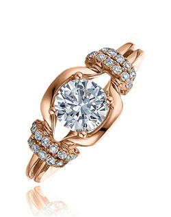 Profess your true love by offering her this attractive Sage ring. With its round center stone sitting on top of a polished semi cushion top with micro-set diamonds on two graduating bars on the sides makes this ring a heavenly sight. Available in any size center and metal. (center not included) 30 DIA 0.23 CT