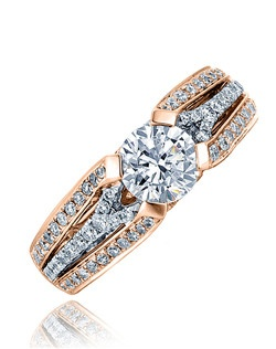 Three dazzling split bands with micro-set diamonds accents the shank of this superb Sage ring.  A commitment to honor and love her. Available in any size center and metal (center not included). 88 DIA 0.61 CT