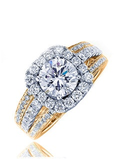 A tasteful richness in design, this Sage ring brings beauty to a dignified woman. A round center stone surrounded by micro-set diamonds on its cushion top and all around the triple band shank completes this exceptional creation. Available in any size center and metal. (center not included) 50 DIA 0.32 CT