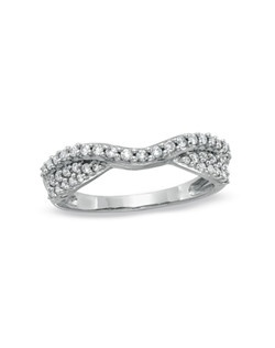 A contemporary style with brilliance and artistry, this double twisted contour band is adorned in glittering round diamonds totaling 3/8 ct. Give her the romantic 14K white gold gift on your wedding day, anniversary or just because she's special to you.Price includes center stone and setting