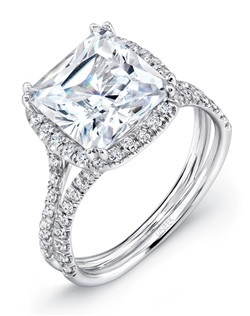 """""""Cushion-cut diamond engagement ring in 18K white gold, designed to hold a 3-carat center, featuring a total of 78 round brilliants (combined weight of 0.50 carats) pave set along the halo and in two rows down the distinctive curvy double shank that Uneek's Silhouette Collection is celebrated for; this style can accommodate a range of center stone sizes (beginning at 0.50 carats), available by special order; this style can accommodate different center stone cuts, available by special order """" Price excludes center stone"""