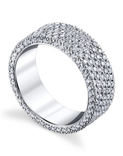 The Flatband Collection is a tribute to the Michael B. signature Micro Pave style. This stunning eternity band features five rows of ultra-miniature  diamonds, mined in Russia and hand cut for exceptional brilliance. Price excludes center stone