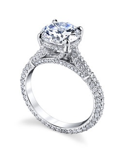 The Florence Collection celebrates the ornate detail of Italian master artistisans. The ornate basket setting features Michael B.'s signature Micro Pave so your ring sparkles from every angle. Price excludes center stone