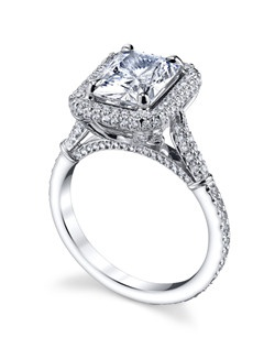 The Florence Collection celebrates the ornate detail of Italian master artistisans. The ornate halo setting features Michael B.'s signature Micro Pave so your ring sparkles from every angle. Price excludes center stone