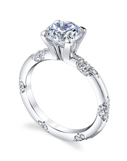 Inspired by the most exquisite French lace, the LACE Collection is for the delicate bride who appreciates the understated elegance and symmetry of the equally interspersed diamond bouquets. The Crown Lace Solitaire is hand crafted with a thinner band for petite hands. Price excludes center stone
