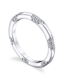 Inspired by the most exquisite French lace, the LACE Collection is for the delicate bride who appreciates the understated elegance and symmetry of the equally interspersed diamond bouquets. The Crown Lace Band is hand crafted with a thinner band for petite hands. Price excludes center stone