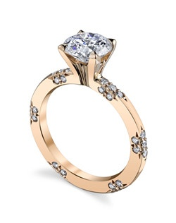 Inspired by the most exquisite French lace, the LACE Collection is for the delicate bride who appreciates the understated elegance and symmetry of the equally interspersed diamond bouquets. Rose gold makes a stunning backdrop for Michael B.'s signature Micro Pave diamonds. Price excludes center stone