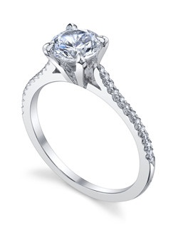 The most delicate of Michael B.'s styles is the Royal Collection designed with smaller center stones and petite fingers in mind. The Royal Paris ring is hand crafted with a single row of Micro-Pave, highlighting its elegant, architectural lines. Price excludes center stone