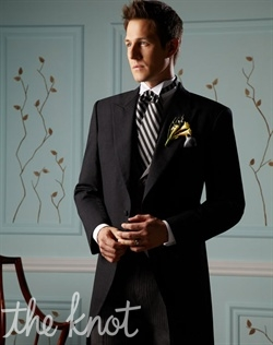 Classic gray cutaway tuxedo. Can be worn with coordinating charcoal-greystriped pleated pants, traditional gray full-dress vest, and ascot.
