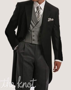 Gray super 120s one-button morning suit features dove gray double-breasted vest, and classic stripe trouser.