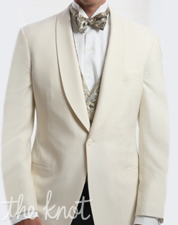 One-button dinner jacket features ivory super 120s Italian wool and shawl or peaked lapels.
