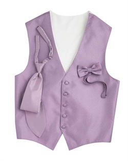 A wisteria purple background hosts a modern geometric print on this sleek, five-button vest. An adjustable strap in back allows for optimum comfort.