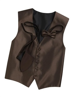 A classic truffle brown background hosts a modern geometric print on this sleek, five-button vest. An adjustable strap in back allows for optimum comfort.