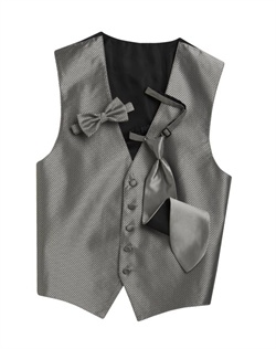 A cool silver background hosts a modern geometric print on this sleek, five-button vest. An adjustable strap in back allows for optimum comfort.