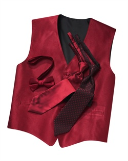 A classic herringbone pattern in a rich apple red hue gives this five-button vest timeless appeal. An adjustable strap in back allows for optimum comfort.