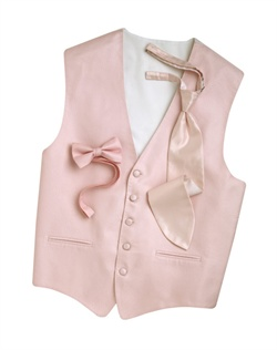 A classic herringbone pattern in a pink hue gives this five-button vest timeless appeal. An adjustable strap in back allows for optimum comfort.