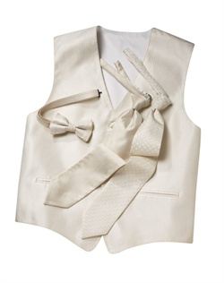 A classic herringbone pattern in ivory gives this five-button  timeless appeal. An adjustable strap in back allows for optimum comfort.