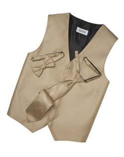 A textured diamond pattern lends modern appeal to this classic golden five-button vest. An adjustable back strap guarantees the perfect fit.
