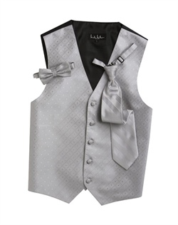 A textured diamond pattern lends modern appeal to this classic platinum silver five-button vest. An adjustable back strap guarantees the perfect fit.