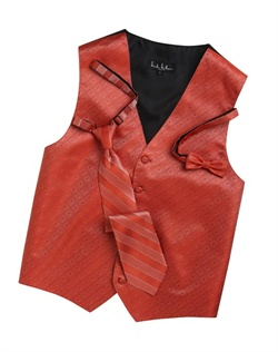 A textured diamond pattern lends modern appeal to this fun pool orange five-button vest. An adjustable back strap guarantees the perfect fit.