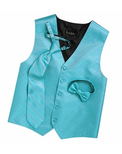 A textured diamond pattern lends modern appeal to this classic pool blue five-button vest. An adjustable back strap guarantees the perfect fit.