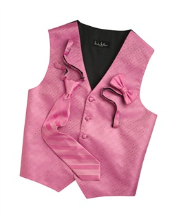A textured diamond pattern lends modern appeal to this fun honeydew five-button vest. An adjustable back strap guarantees the perfect fit.